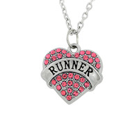 Wholesale Runners Necklace - Hot Selling Simple design Single-Sided Elegant Pendant Mix color Rhodium Plated Letter RUNNER Woman Statement Necklaces