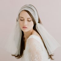Wholesale One Shoulder Layer Wedding Dress - 2017 Ladies Handmade Bridal Headdress Veil Hair Accessories Women Romantic White Veil For Wedding Dress Womans Headband Middle Length Head V