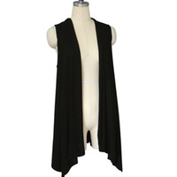 Wholesale Wholesale Long Sleeve Shrugs - Wholesale-Woman Knitted Cotton Sleeveless Open Stitch Long Cardigan Scarf Collar Casual Shrug Standard Wool Bat Style Sweater Cardigans
