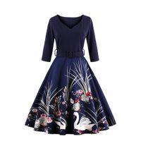fall tuniken großhandel-2017 herbst winter frau dress plus größe vintage dress 50 s fudrey hepburn print robe weibliche partei retro dress tunika vestidos fs1163