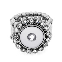 Wholesale White China Buttons - 7 Styles 12mm snap button ring adjustable rings for button snap jewelry