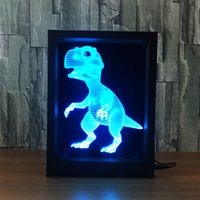 3D Dinosaurio LED Photo Frame IR Remote 7 RGB Lights AAA Battery ou DC 5V Factory Wholesale Dropship Frete Grátis