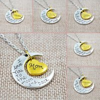 Wholesale Vintage Mom Necklace - I Love You To The Moon And Back Silver Necklace Vintage Family Necklaces Pendants Fashion Women Jewelry Mom Christmas Gift