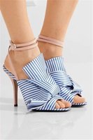 Wholesale Stripes Stilettos High Heels - 2017 New Luxury Design Blue White Stripes Slippers Sandals Ankle Strape Women Shoes Slide Flip Flops Butterfly-knot Mules Sandalias Mujer