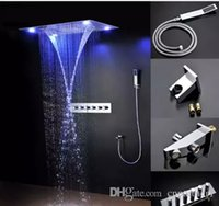 """Wholesale Ceiling Shower Sets - Luxury 31"""" Large Rain Shower Set Waterfall LED Recessed Ceiling Remote Control 600*800mm Stainless steel mirror LED shower shower"""