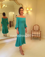 Wholesale Mother Asymmetrical Dress - Romantic 2017 Mother Of The Bride Dress Green Beach Wedding Mother's Groom Dress Mermaid Off-Shoulder Wedding Guest Dress for Party Wear