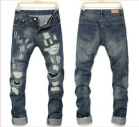Wholesale Mens Denim Trouser 34 - Men Ripped Jeans Hip Hop Designs Men Jeans Trousers Destroyed Mens Slim Motor Denim Pants Straight Biker Skinny Jeans J161205