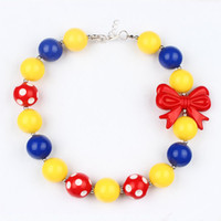 Wholesale Wholesale Bow Bead Necklaces - Snow White Necklace Girl Candy color Beads necklace with Bow Kids Chunky Necklace Inspired Girls Bubblegum Jewelry
