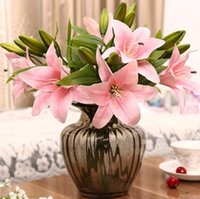 Wholesale Artificial Silk Lily For Wedding - 3 heads real touch PVC artificial lily silk decorative flower for wedding decoration gift G727