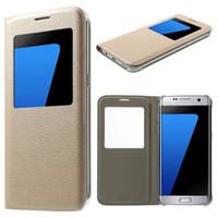 Wholesale Smart Flip Cell Phones - For samsung s7 edge flip case PU Leather wallet case smart phone cases For Samsung Galaxy S7 S6 edge cell phones