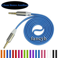 Wholesale Cable Iphone Mini Jack - 3.5mm Colorful Flat Noodle Aux Audio Auxiliary Cable Jack Male to Male Plug Stereo Cord Wire for Iphone 6plus Mobile Phone Speaker