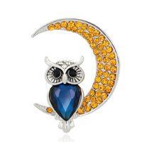 ay kristal broş toptan satış-Yeni Varış Ay Baykuş Broş Düğün Buket Düğün Başörtüsü Konfeksiyon Çanta Şapkalar Pins Up Toka Femininos Broş Oyunu Bijoux