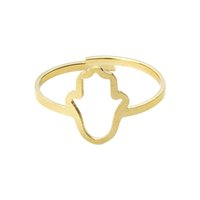 Wholesale 18k Gold Hamsa Ship - Wholesale 10Pcs lot Free Shipping 2017 Fashion Stainless Steel Midi Rings Year Yoga Jewelry Lucky Hamsa Hand Adjustable Gold Filled Rings