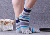 Wholesale yoga toe socks black - Mens pure Cotton Five Toe Socks Striped Contrast Colorful Patchwork Men 5 Finger Sock Breathable Outdoor sports socks Foot Heel Protection