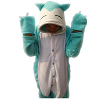 Wholesale Japanese Halloween Jumpsuits - Poke Snorlax Pajamas Japanese anime Onesie Cosplay Costume Fleece Sleepwear Pajamas Halloween Party Jumpsuit Kabigon Ronflex Relaxo Jammanbo