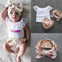 Wholesale Cashmere Outfit - DHL Baby Clothes Lace Set INS Summer Girls Sleeveless Vest Floral Clothing Shorts Headband 3pcs Sets Kids Infants Outfit Girls Suit 0-2years