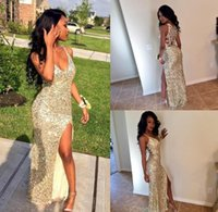 Wholesale Cheap Eveing Gowns - Sexy Gold Sequins Arabic Prom Party Dresses V Neck High Slit Mermaid Backless Plus Size Cheap African Graduate Gowns Eveing Wear 2017