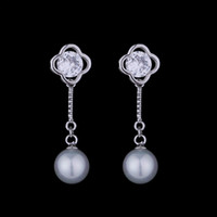 Wholesale Mother Pearl For Sale - New Style Ear Stud White Pearl Zirconia Earrings Sterling Silver 925 Sticks Studs Hot Sale Jewelry Natural Pearl Dangle Earrings for Women
