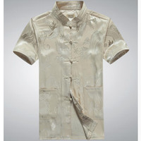 Wholesale Long Sleeve Cheongsam Tops - Wholesale- China dragon 2017 Men Tang Suit Short Sleeve Summer Cheongsam Top Jacquard Silk Shirt Men Kung Fu Tai Chi Uniform w377