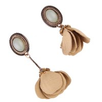 Wholesale Nude Earrings - Fashion Nude Pendant Simulated Pearl Oval Vintage Drop Dangle Earring For Women Party Flower Asymmetric Statement Jewelry Bijoux