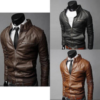 Wholesale Men Leather Hooded Jacket Coat - Wholesale- Men Winter Fashion Cool Zipper Pocket Faux Leather Bomber Jacket Coat Outerwear