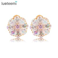 Wholesale Clip Earrings Accessories - Hot Selling Fashion Stud Earrings Shining Rainbow CZ Ear Clips for Women Party Jewelry Accessories Elegant Brincos LUOTEEMI