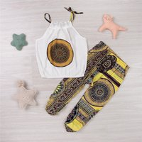 bebek yelek seti toptan satış-Bebek Kız Moda Giyim Çocuklar Bohemian Kayış Üst Pantolon Retro Baskı Toddler Kolsuz Yelek Elbise Yenidoğan Bebek Pamuk Giyim Mikrdoo Set