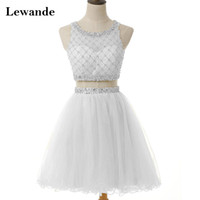 Tulle Beading Cute Ivory Prom Homecoming Коктейльное платье Короткая A-line Two Piece Без рукавов Сексуальная 2pc Singer Pageant Gown Lewande