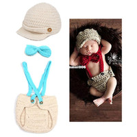 Wholesale crochet baby clothes - Baby Accessory Photo Props Little Gentleman Toddler Hand Knitted Crochet Costume Matching Tie Hat Diaper Covered Newborn Clothes