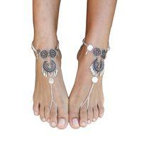 sandalias descalzas al por mayor-1 piezas Bohemia metal Rouind tobilleras moda pie joyería cadena borla sandalias descalzas playa pie joyería tobilleras pulsera para mujer joyería