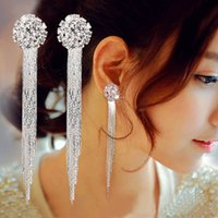 Wholesale Clip Earrings Wholesale Fashion - 2017 Hot Korea Fashion Tassel Earrings Long Crystal Screw Clip earrings for no ear hole women Girls wholesale Party Performance Jewelry