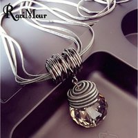 Wholesale Drop Glass Pendant Necklaces - RAVIMOUR Long Necklace Black Chain Drop Crystal Women Necklace Jewelry 8Style Maxi Necklaces & Pendants Kolye 2017 NEW YEAR GIFT