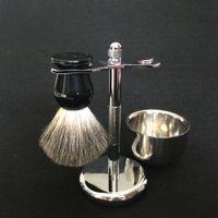 Wholesale Hair Bowls - Beard Shaving Set Badger Wet Hair Shaving Brush for men Beard Grooming, Stainless Steel Brush Holder Razor Stand with Shaving Mug   Bowl