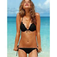 Wholesale Micro Bikinis For Women - New Sexy Micro Bikinis Beach Solid Plus Size Swimwear Fashion Two Piece Halter Swim Wear For Women Free Shipping