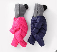 Wholesale Down Coat Romper - Baby down coats rompers toddler kids thicken warm jumpsuits winter new newborn hooded one-piece onesies infant zipper romper T0298