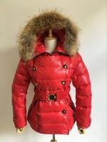 Wholesale Down Coat Ladies Pattern - Top Brand Fashion Women Down Coat Real Rabbit Fur Collar Duck Down Duvet Ladies Jacket Slim feather dress