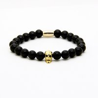 Wholesale Mixed Colour Charms - Fashion Jewelry Wholesale Micro Pave Black Cz Faceted Mix Colour Skull With 8mm A Grade Black Onyx Stone Beads Tube Men's Bracelets