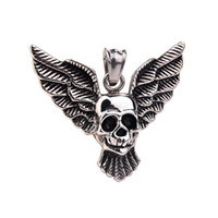 Wholesale Titanium Skull Pendants - Skull Pendant Necklace Cool Stainless Steel Men's Biker Vintage Wolf Head Titanium Steel Necklace NO Chain