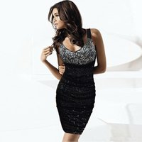 Europa und United States Style Sequins V-Ausschnitt Tight Rock KTV Base Paket Hip Kleid Sexy Net Garn Party Kleider