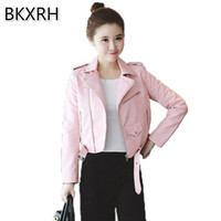 Wholesale Pink Chain Motorcycle - BKXRH 5 colors Pink Blue Women Leather Jackets Soft Pu Faux Leather Coats Slim Short Design Turn Down Collar Motorcycle Outwear