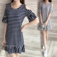 Wholesale Long Sleeved Dresses Cheap - Cheap 2017 new summer Strapless short sleeved flounce loose in the long stripe horn sleeve dress free shipping
