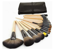 maquillaje negro rosa al por mayor-Pinceles cosméticos de maquillaje para cejas sombra de ojos labio 24pcs set Foundation Makeup Brush Sets negro rojo, azul rosa color