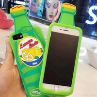 Wholesale Case Iphone Drink - Lemon Soda Lemonade Bottle Creative design 3D Silicone Case for iPhone 6 6S 7 Plus back cover water soft drink