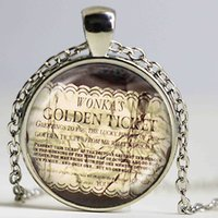 Wholesale Neckless Wholesale - Willy Wonka Ticket and the Chocolate Factory movie pendant Golden Ticket necklace movie jewelry glass picture choker neckless