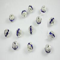 platten für hochzeiten großhandel-Umweltfreundliche 8 MM Hohl Saphir Farbe Lose Perlen Charming Kristall Rondelle Silber Überzogene Kugel Strass Spacer Ideal für Hochzeiten