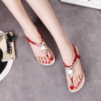 Wholesale Leather Lace Thong - Summer slippers women fashion outside wear thong with antiskid flat sandals women lovely students fashion flip-flops