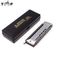 Wholesale Chromatic Music - Wholesale-Swan 12 Holes Chromatic Harmonica Gaita Mouth Organ with 48 Tone Key of C Reed Wind Music Instrument with Case Silver