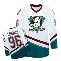 Wholesale Apparel M - Men's high quality Mighty Ducks Movie Jersey #96 Charlie Conway Hockey Jersey M, L, XL,XXL, 3XL white and blue Athletic Outdoor Apparel