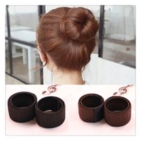 Wholesale Extensions Buns - New Beauty Girl Hair DIY Styling Tools Donut Former Foam French Twist Magic Tools Bun Maker Hair Bun Magic Tools Free Shipping