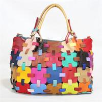 Wholesale Tartan Handbags - High Quality Women Bags Handbag Black Colorful Patchwork Genuine Leather Woven Bag Real Leather Tote Bag